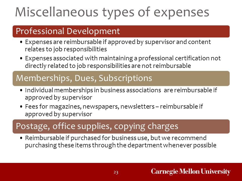 Miscellaneous types of expenses