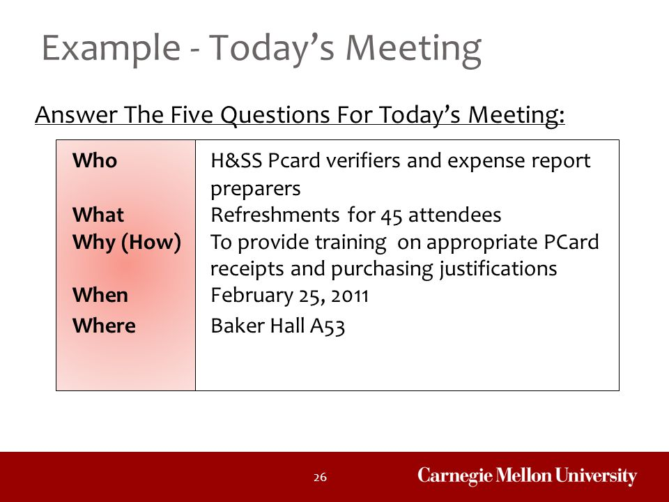 Example - Today's Meeting