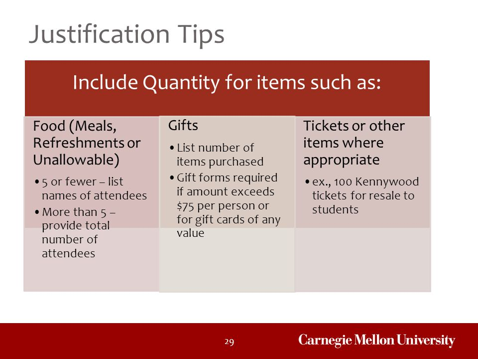 Include Quantity for items such as: