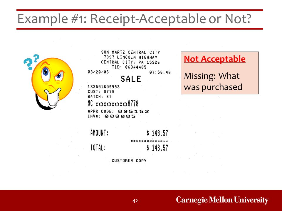 Example #1: Receipt-Acceptable or Not