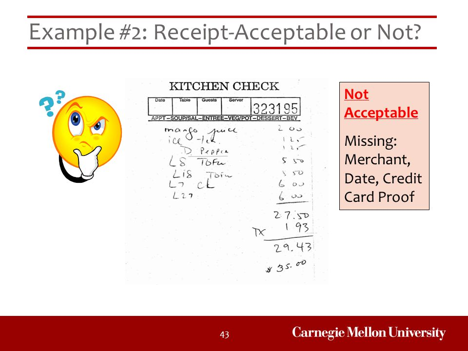 Example #2: Receipt-Acceptable or Not