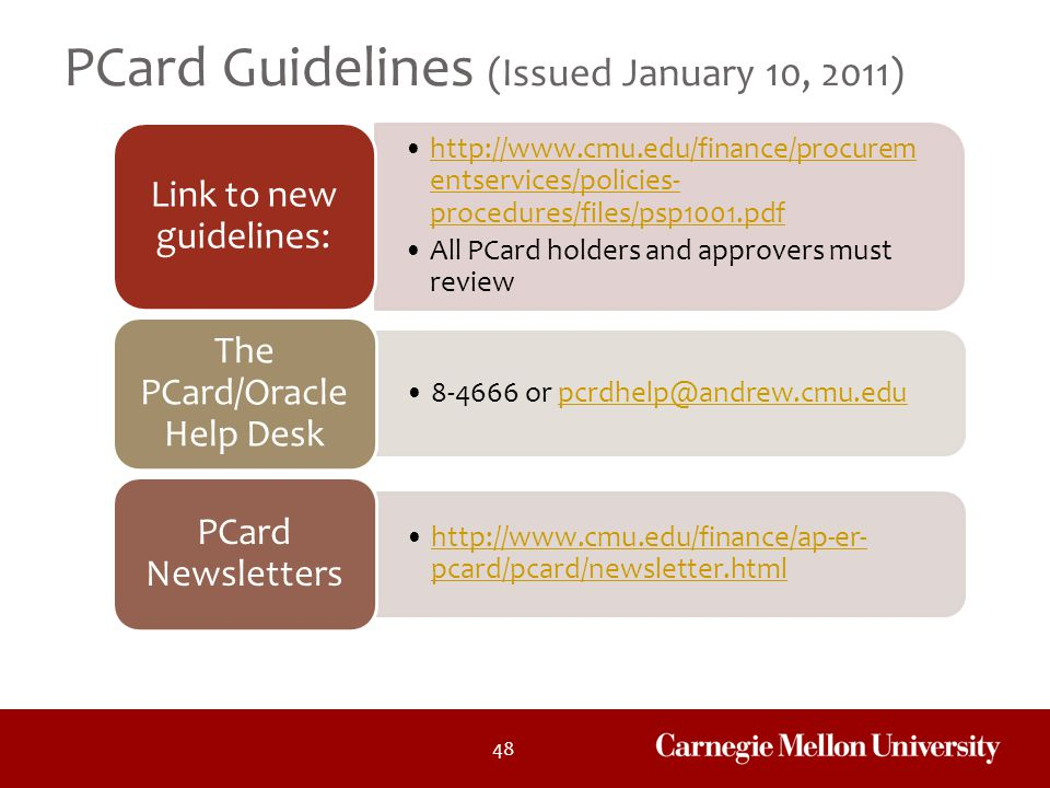 PCard Guidelines (Issued January 10, 2011)