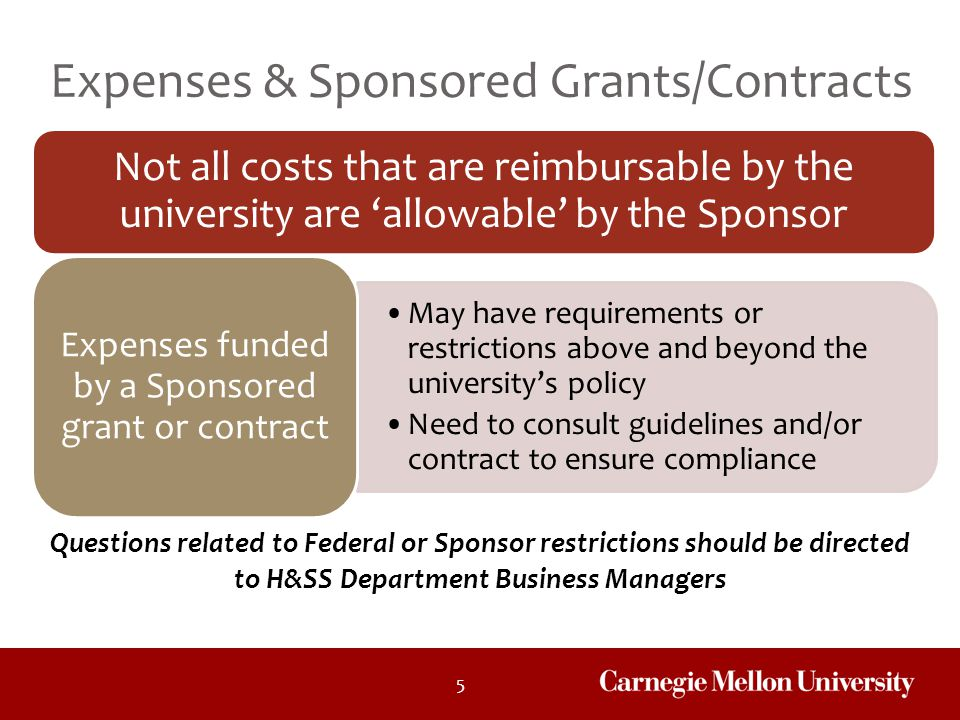 Expenses funded by a Sponsored grant or contract