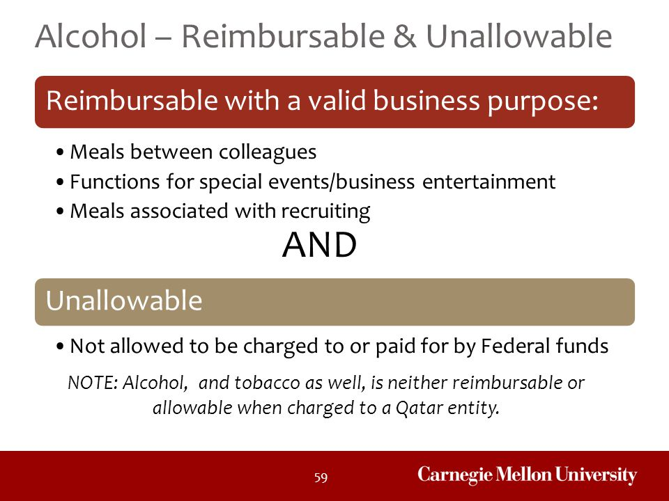 AND Alcohol – Reimbursable & Unallowable