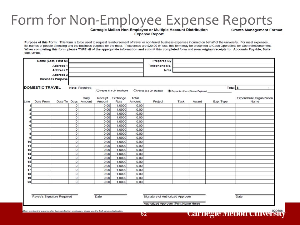 Form for Non-Employee Expense Reports