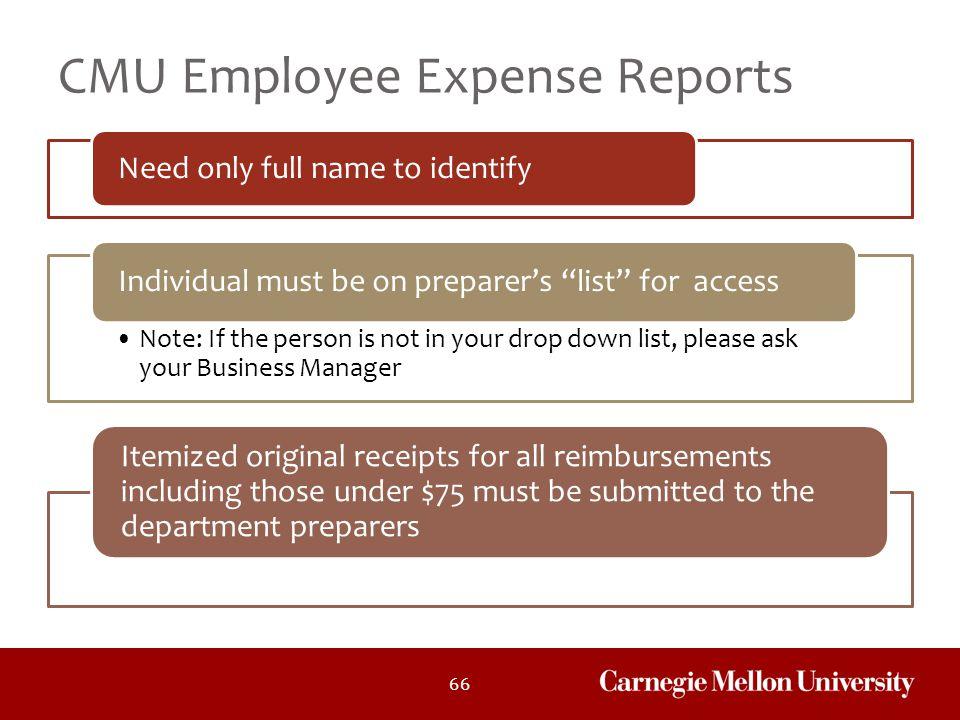 CMU Employee Expense Reports