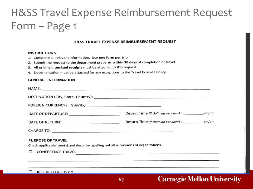 H&SS Travel Expense Reimbursement Request Form – Page 1