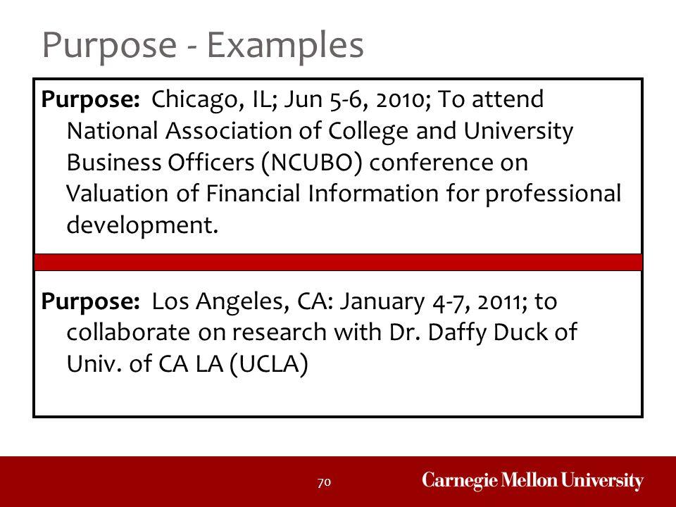 Purpose - Examples