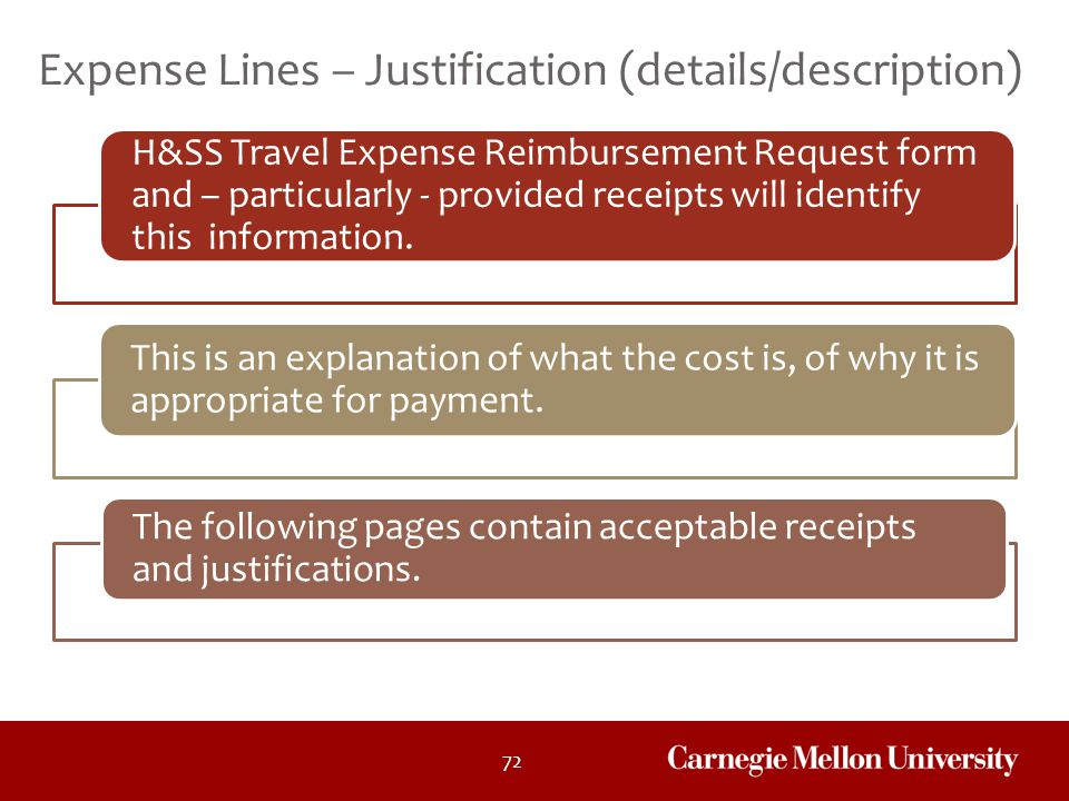 Expense Lines – Justification (details/description)