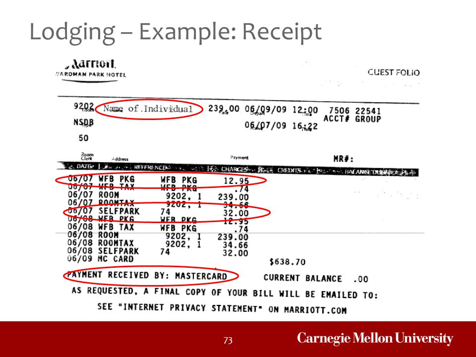 Lodging – Example: Receipt