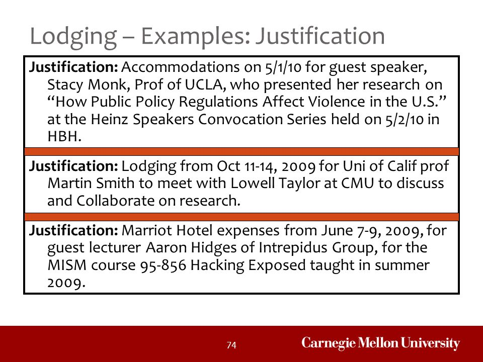 Lodging – Examples: Justification