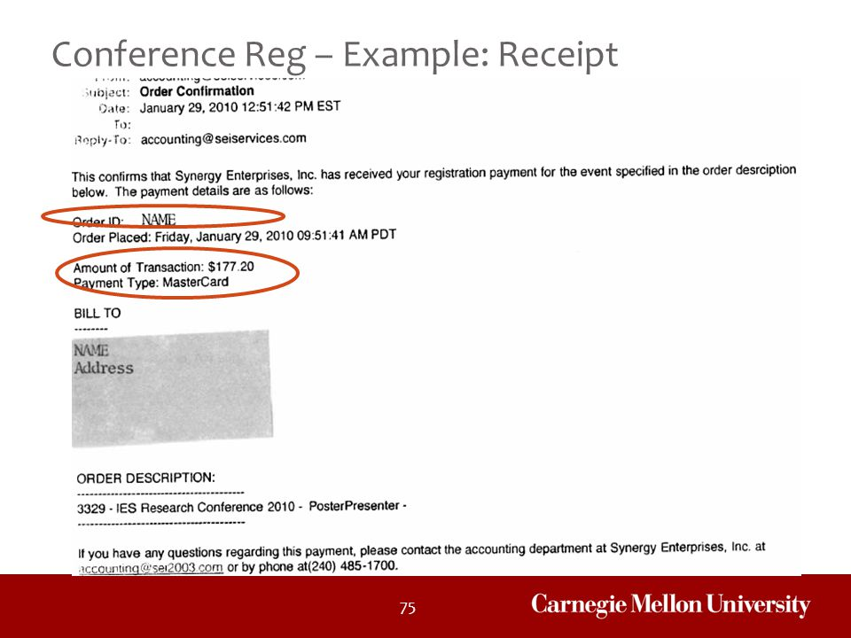 Conference Reg – Example: Receipt