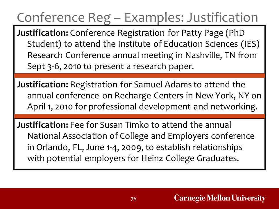 Conference Reg – Examples: Justification