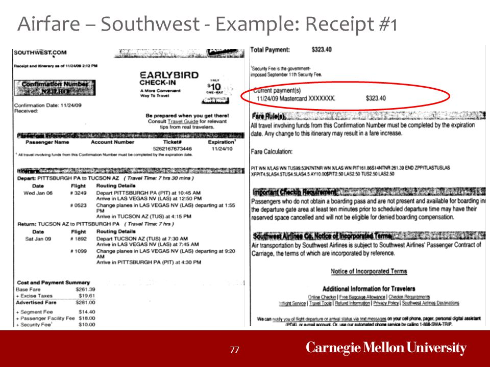 Airfare – Southwest - Example: Receipt #1