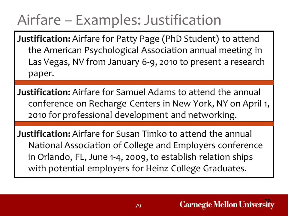 Airfare – Examples: Justification