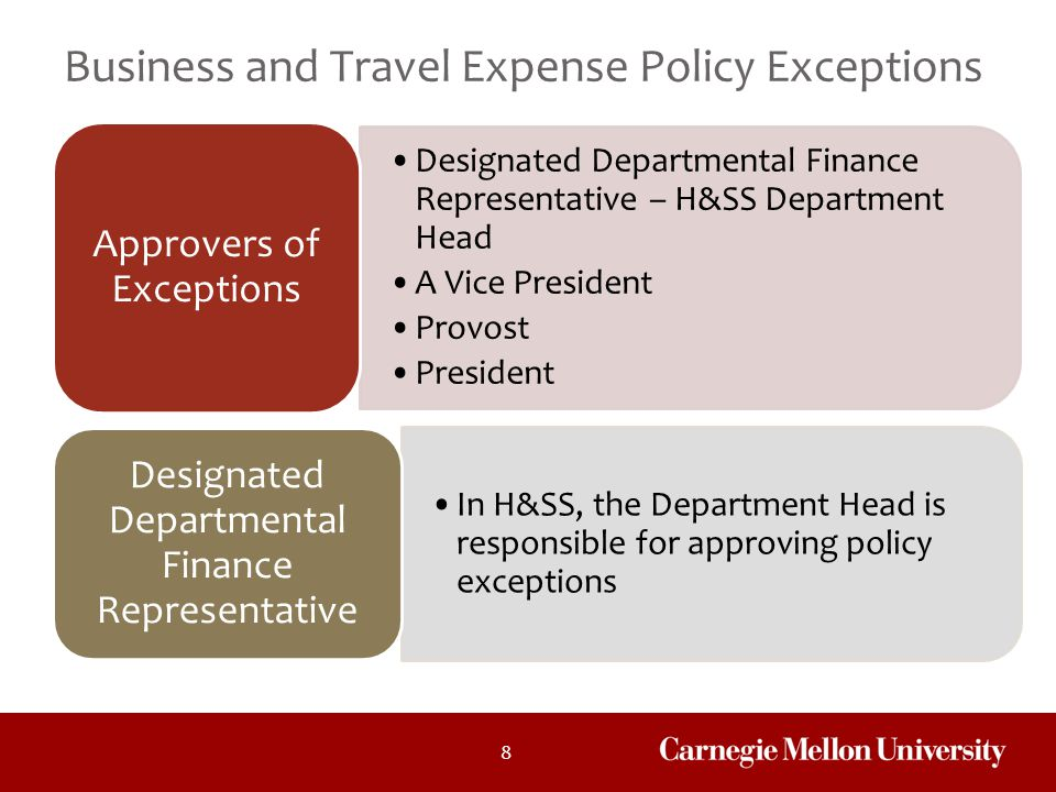 Business and Travel Expense Policy Exceptions