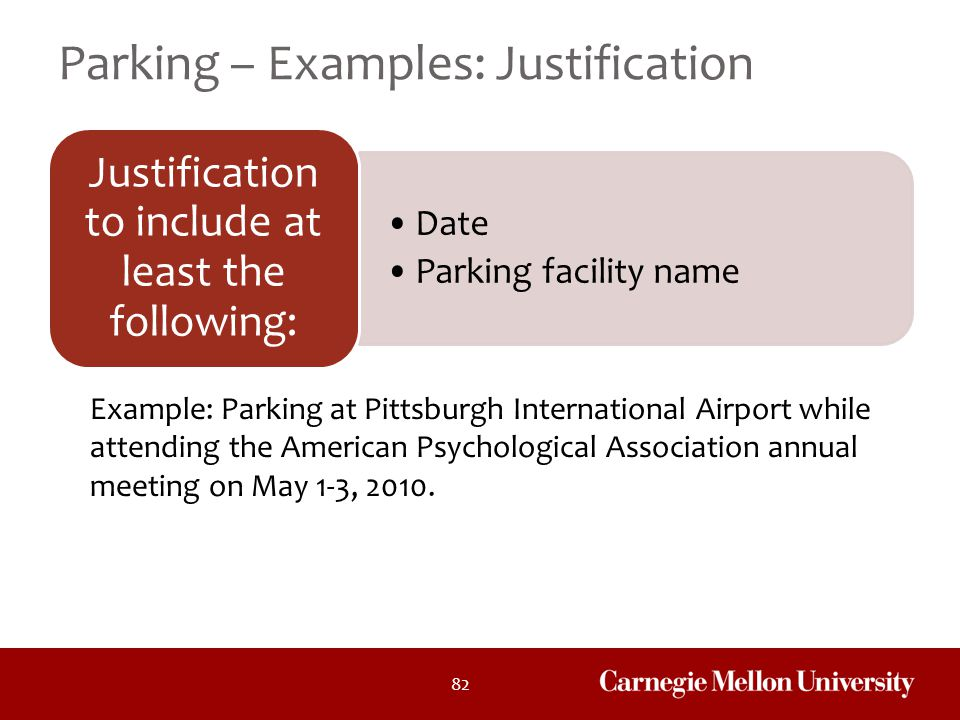 Parking – Examples: Justification