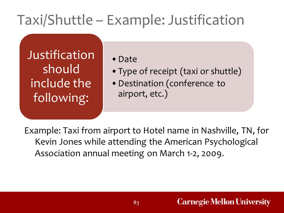 Taxi/Shuttle – Example: Justification