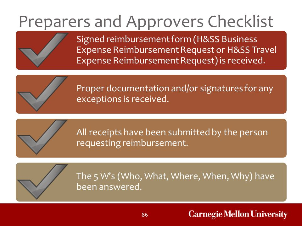Preparers and Approvers Checklist