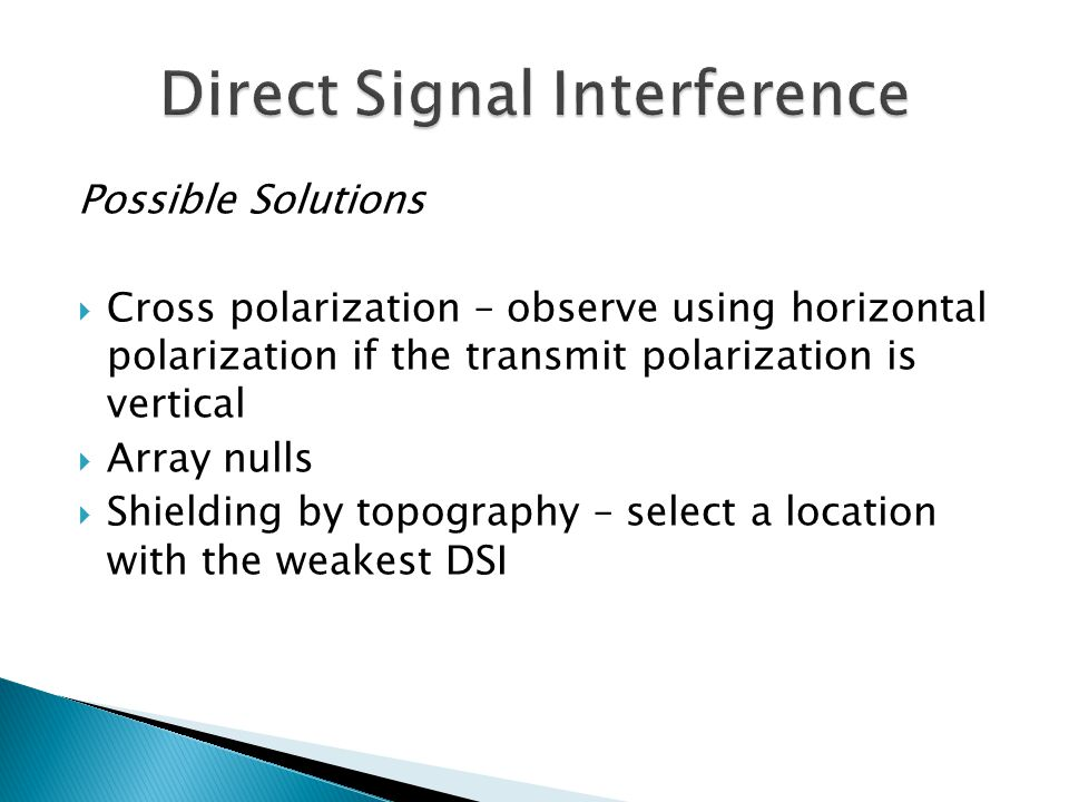 Direct Signal Interference