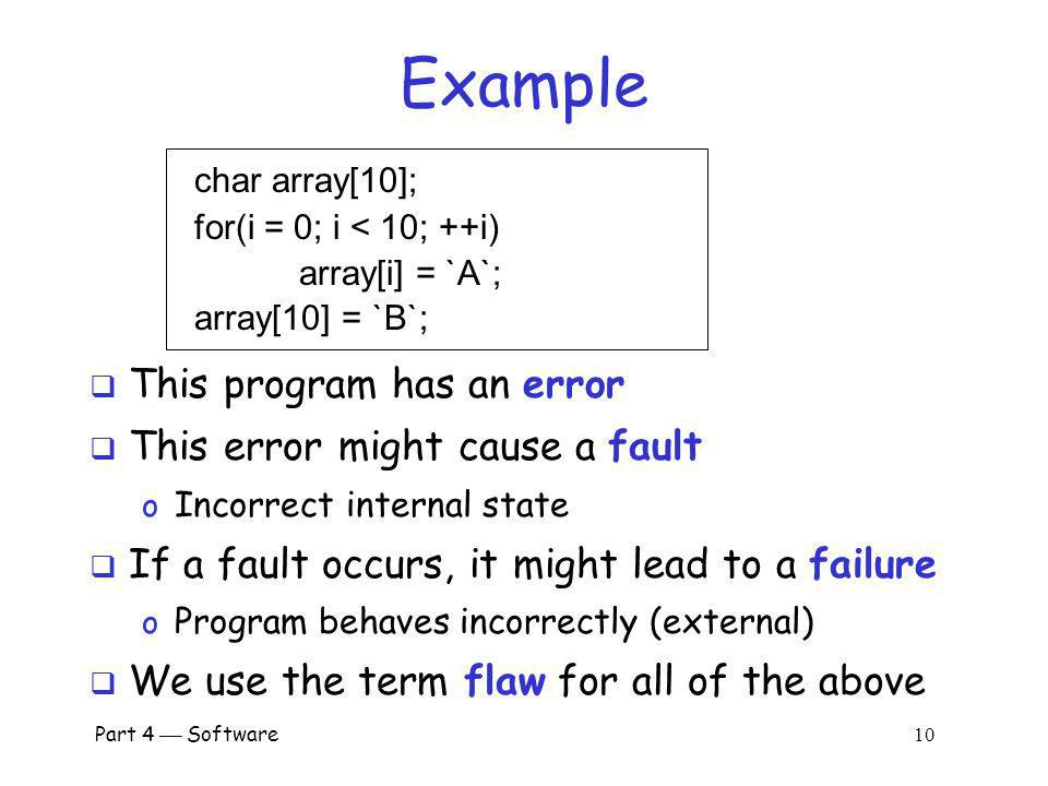 Example This program has an error This error might cause a fault