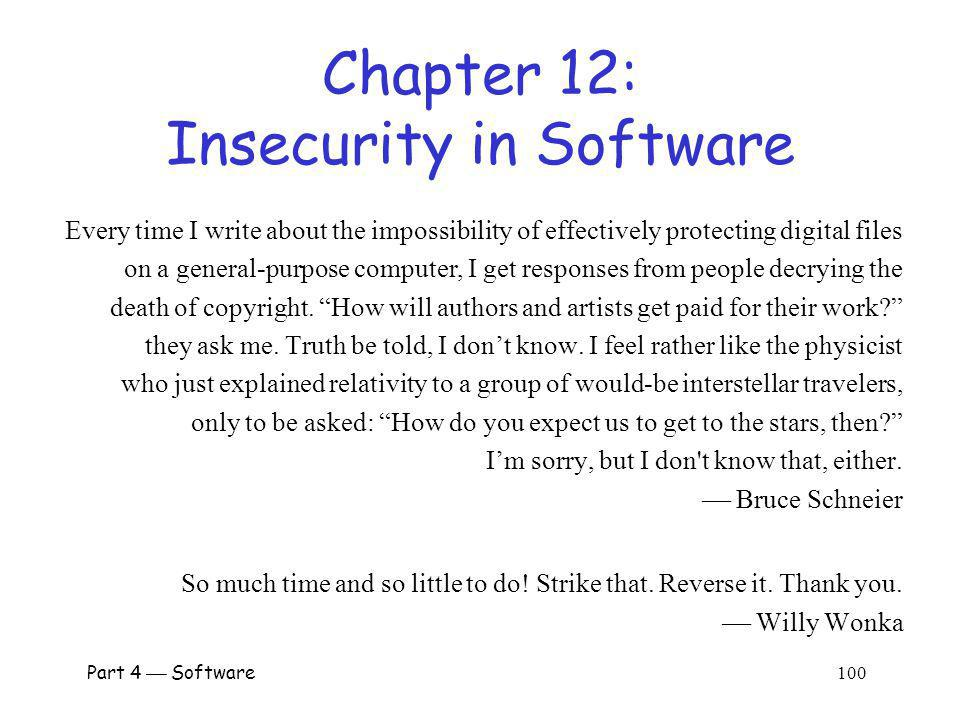 Chapter 12: Insecurity in Software