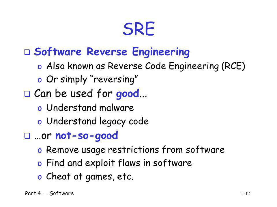 SRE Software Reverse Engineering Can be used for good...