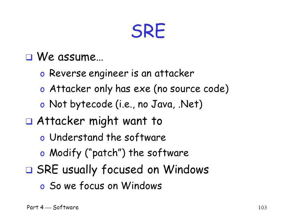 SRE We assume… Attacker might want to SRE usually focused on Windows