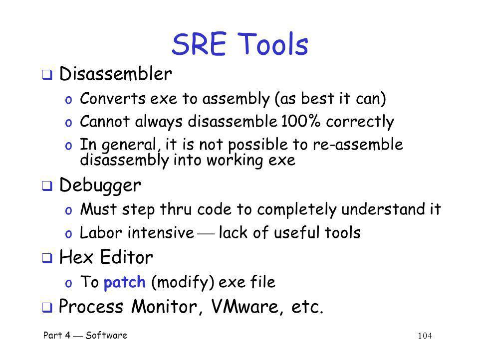 SRE Tools Disassembler Debugger Hex Editor