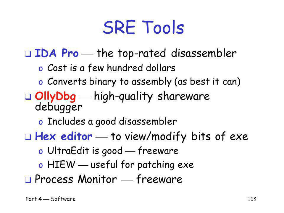 SRE Tools IDA Pro  the top-rated disassembler