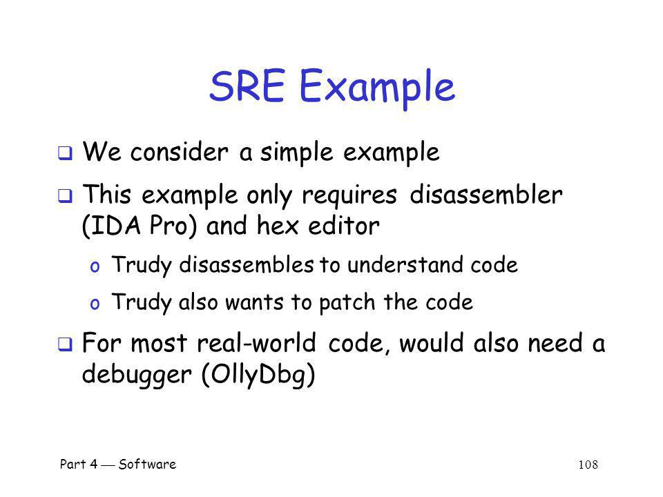 SRE Example We consider a simple example
