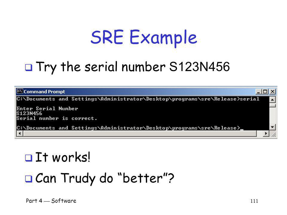 SRE Example Try the serial number S123N456 It works!