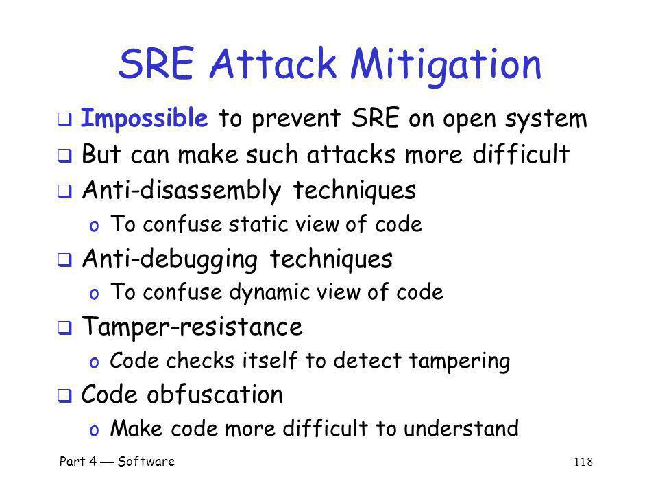 SRE Attack Mitigation Impossible to prevent SRE on open system