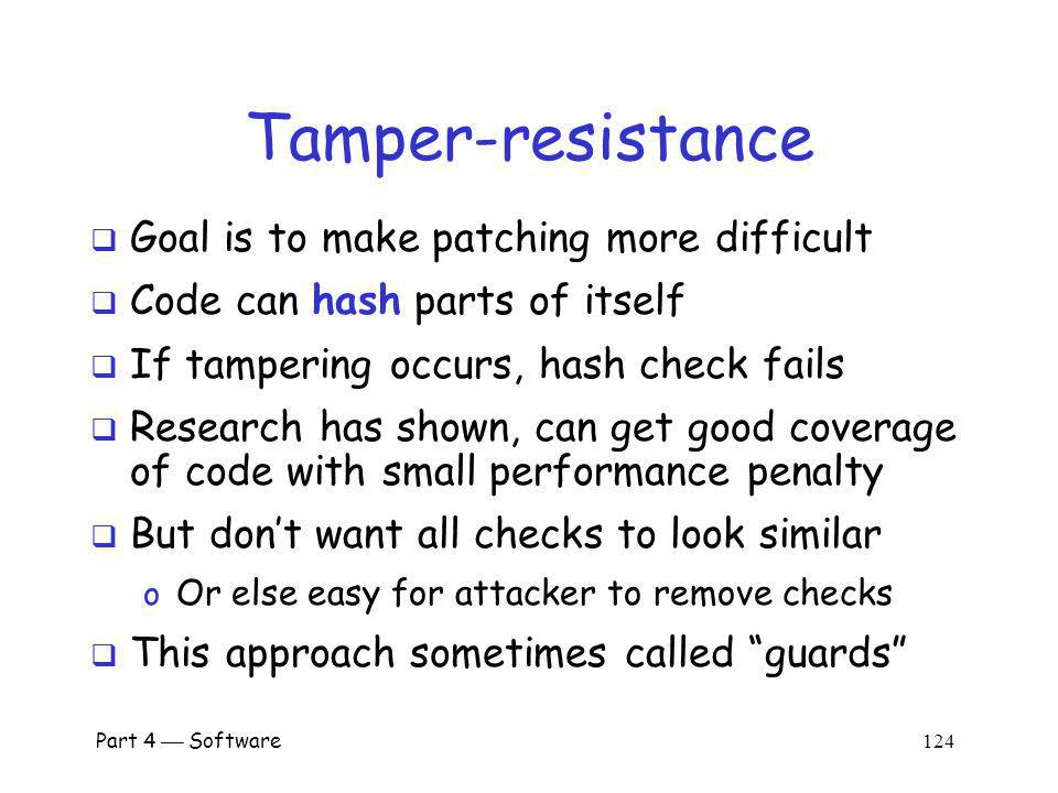 Tamper-resistance Goal is to make patching more difficult