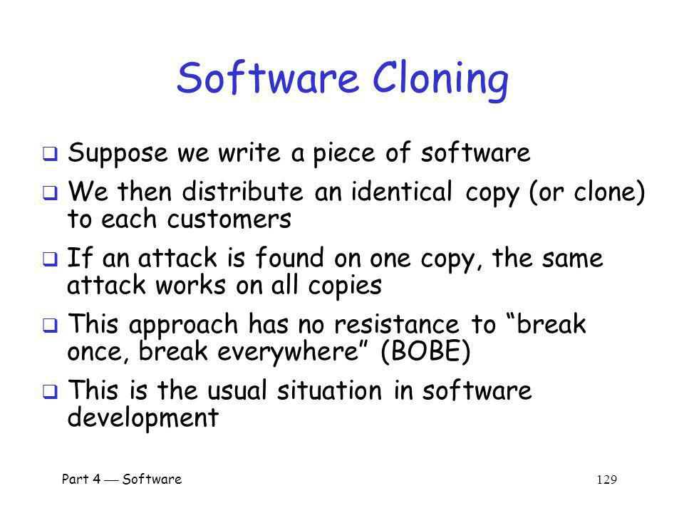 Software Cloning Suppose we write a piece of software