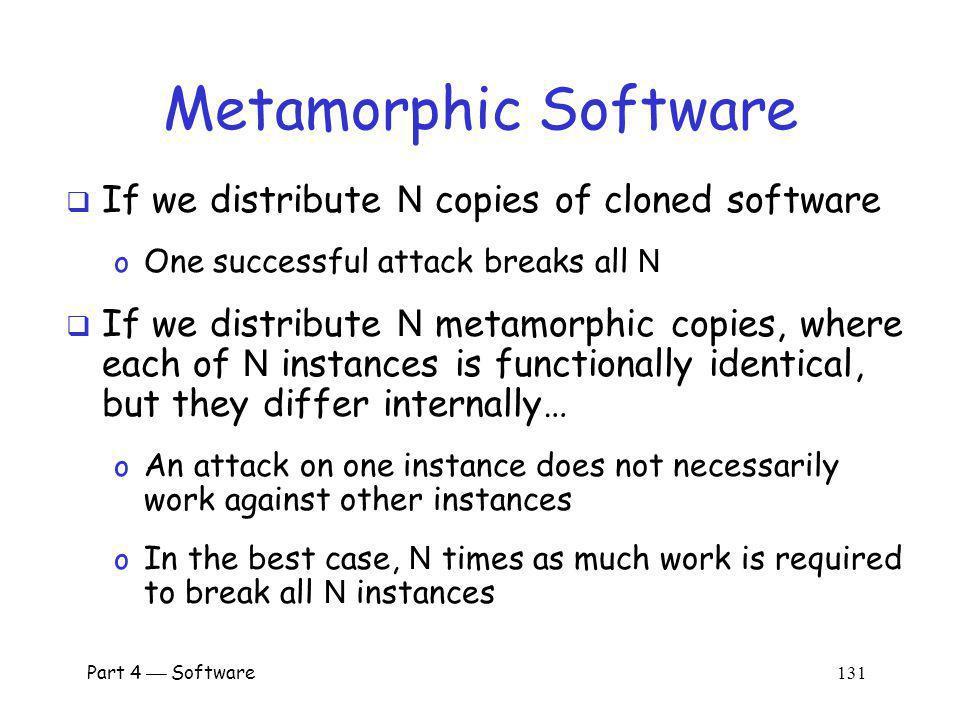Metamorphic Software If we distribute N copies of cloned software