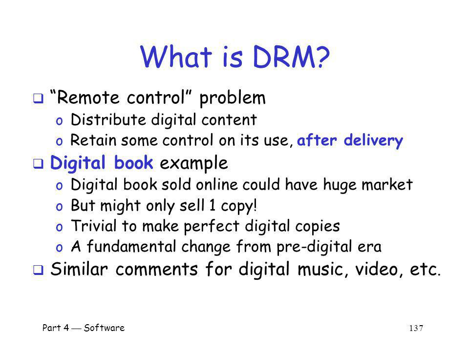 What is DRM Remote control problem Digital book example