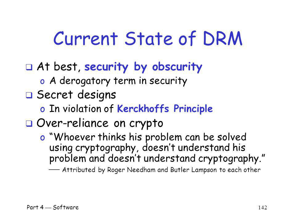Current State of DRM At best, security by obscurity Secret designs