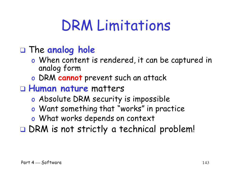 DRM Limitations The analog hole Human nature matters