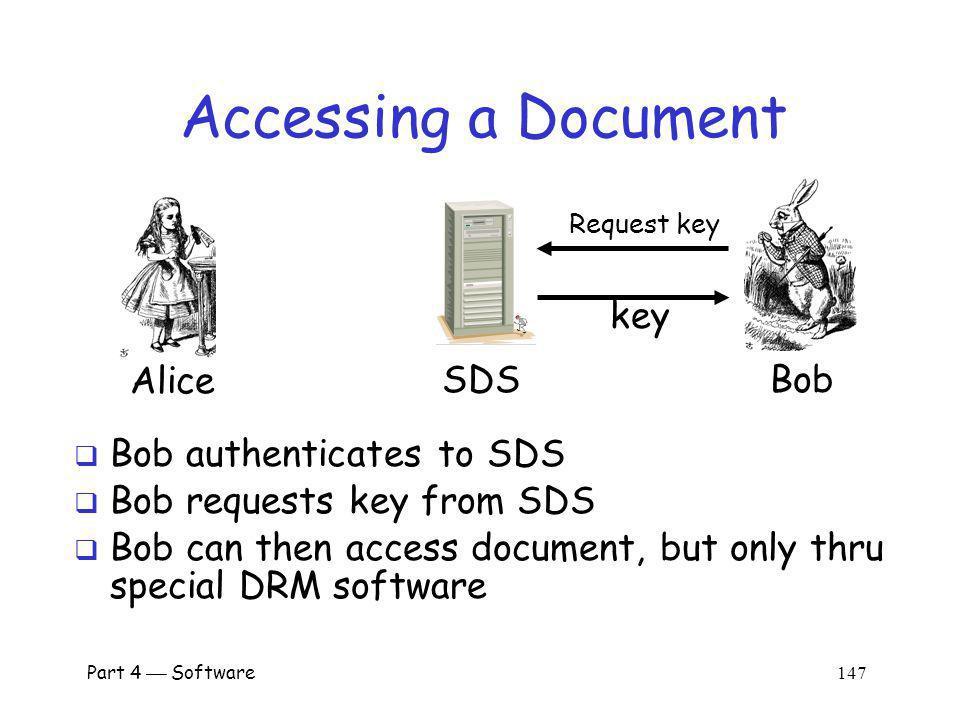 Accessing a Document key Alice SDS Bob Bob authenticates to SDS