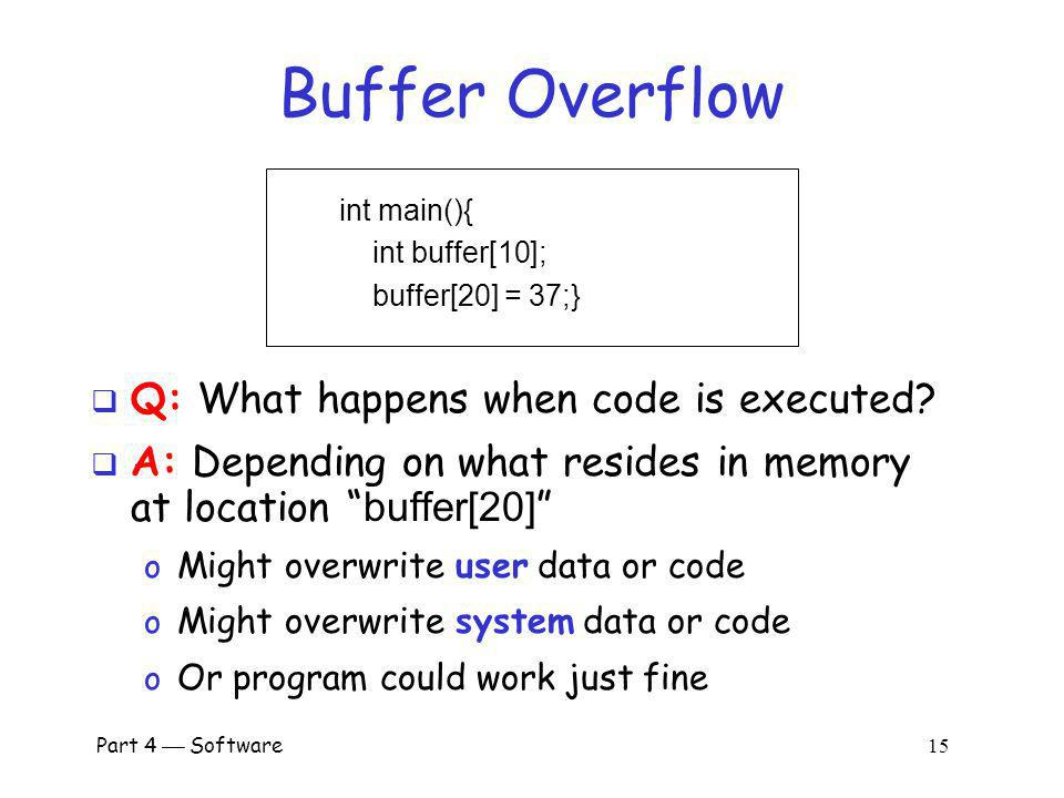 Buffer Overflow Q: What happens when code is executed