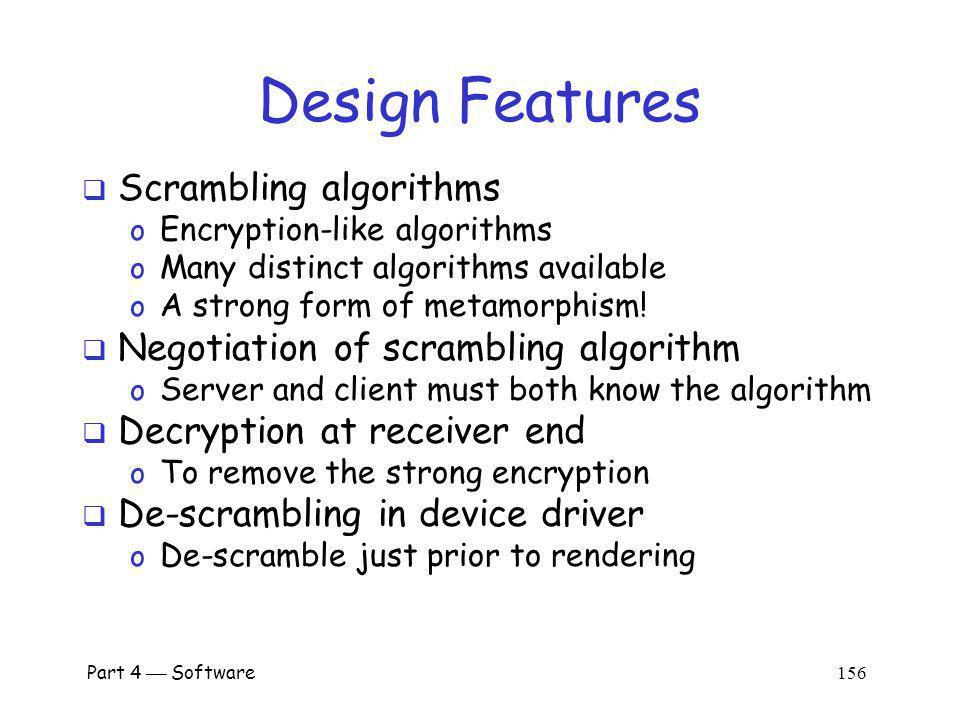 Design Features Scrambling algorithms