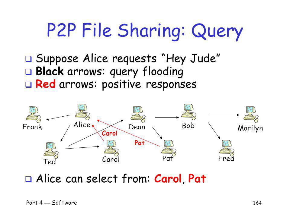 P2P File Sharing: Query Suppose Alice requests Hey Jude