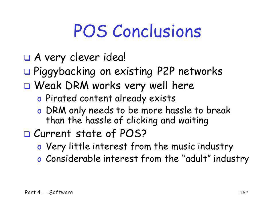 POS Conclusions A very clever idea!