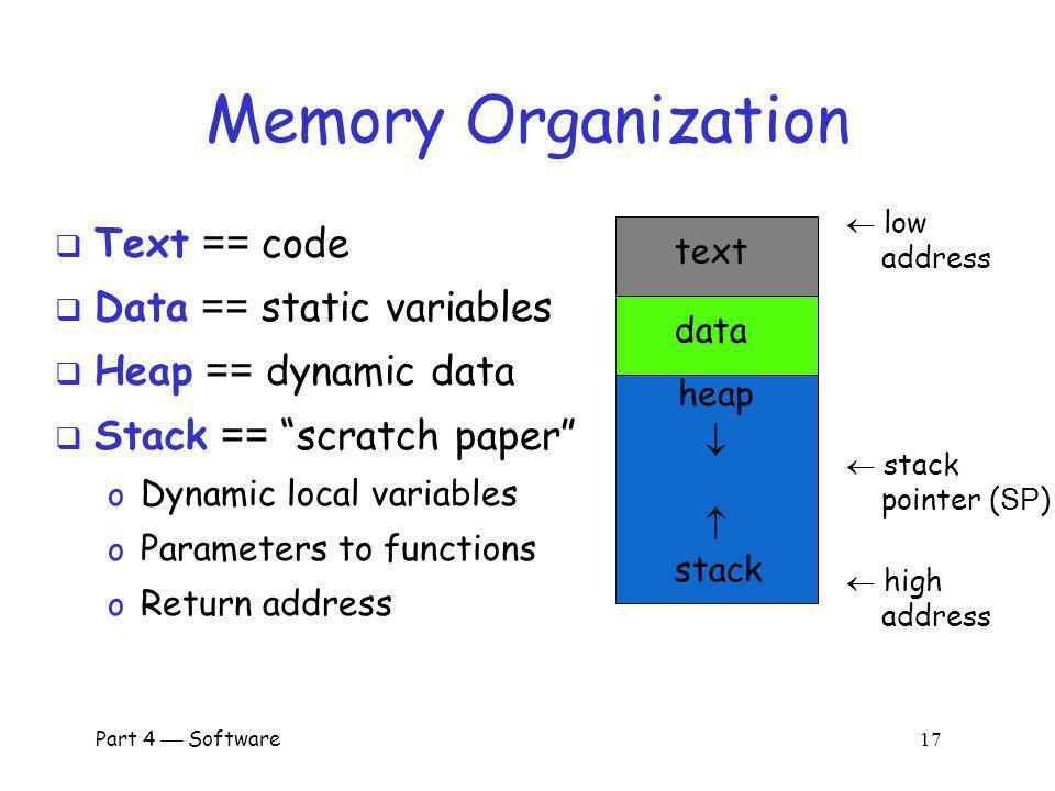 Memory Organization Text == code Data == static variables