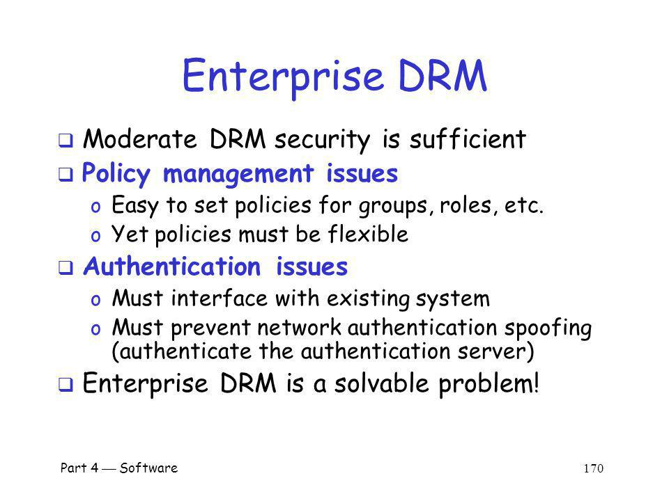 Enterprise DRM Moderate DRM security is sufficient