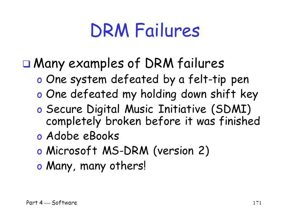 DRM Failures Many examples of DRM failures