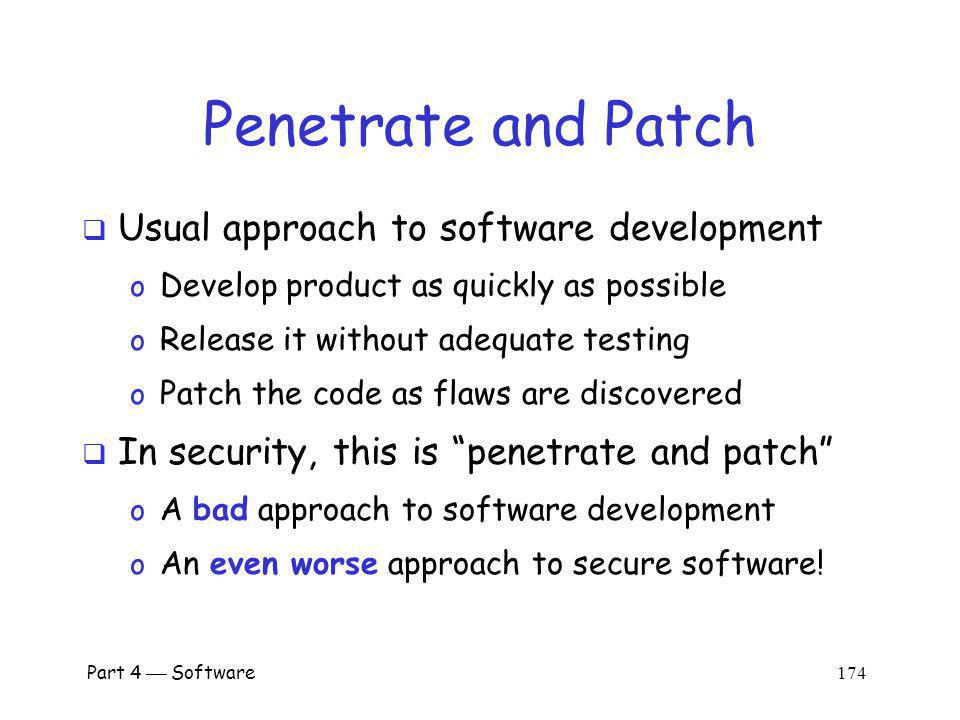 Penetrate and Patch Usual approach to software development
