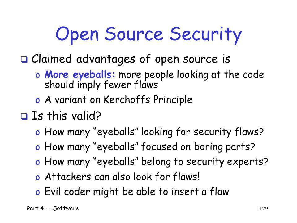 Open Source Security Claimed advantages of open source is