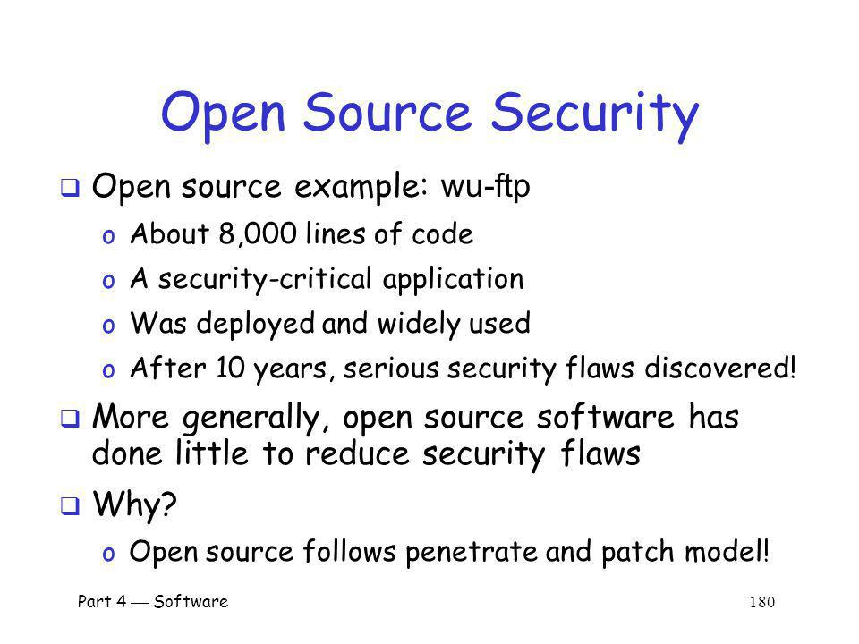 Open Source Security Open source example: wu-ftp